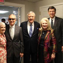 From left, Landra Reid, Sen. Harry Reid, Sen. Larry Pressler, Harriet Pressler and Clayton Christensen following Larry Pressler's baptism on Sunday, April 19, 2015, in Chevy Chase, Maryland.