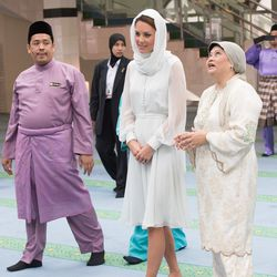 Wearing a head scarf and custom-made Beulah dress at Assyakirin Mosque in Malaysia on September 14th, 2012.