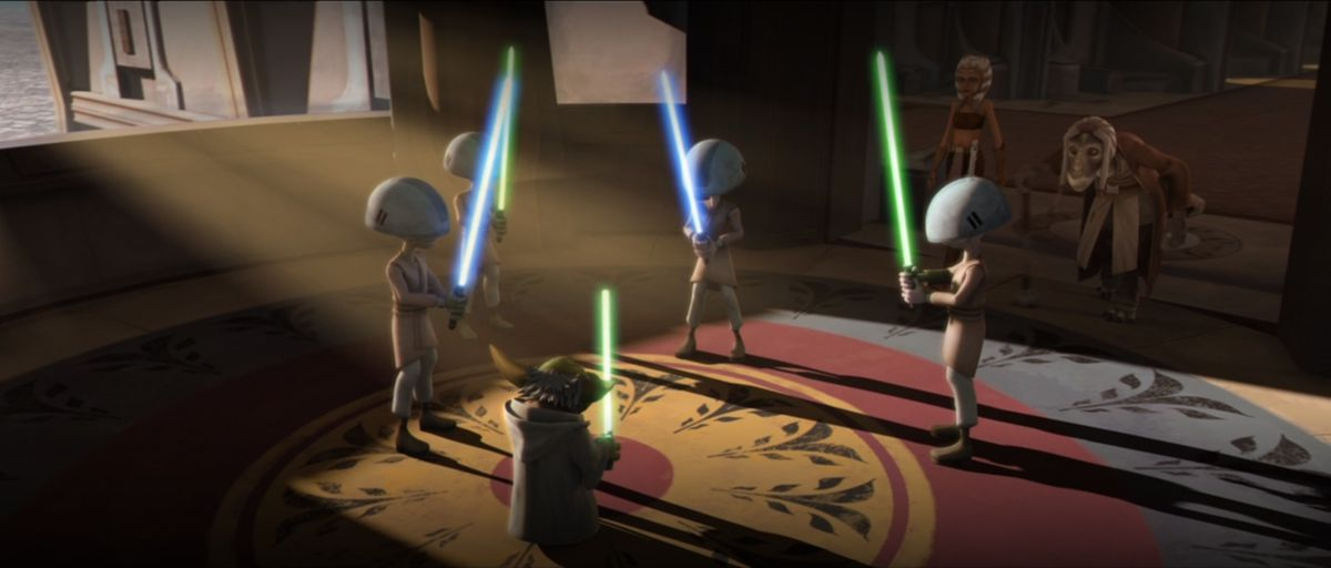 Yoda and several younglings stand around a circle with lightsabers