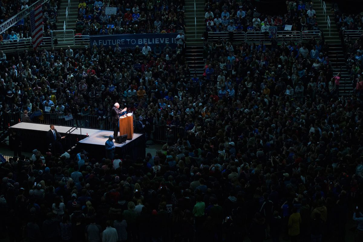 Bernie Sanders at Michigan State in early March.