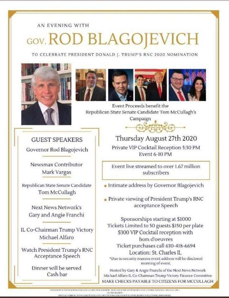 A flyer for an Aug 27 fundraiser featuring ex-Illinois Gov. Rod Blagojevich.