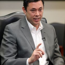 Rep. Jason Chaffetz, R-Utah, meets with the Deseret News and KSL editorial boards in Salt Lake City on Tuesday, Feb. 21, 2017.