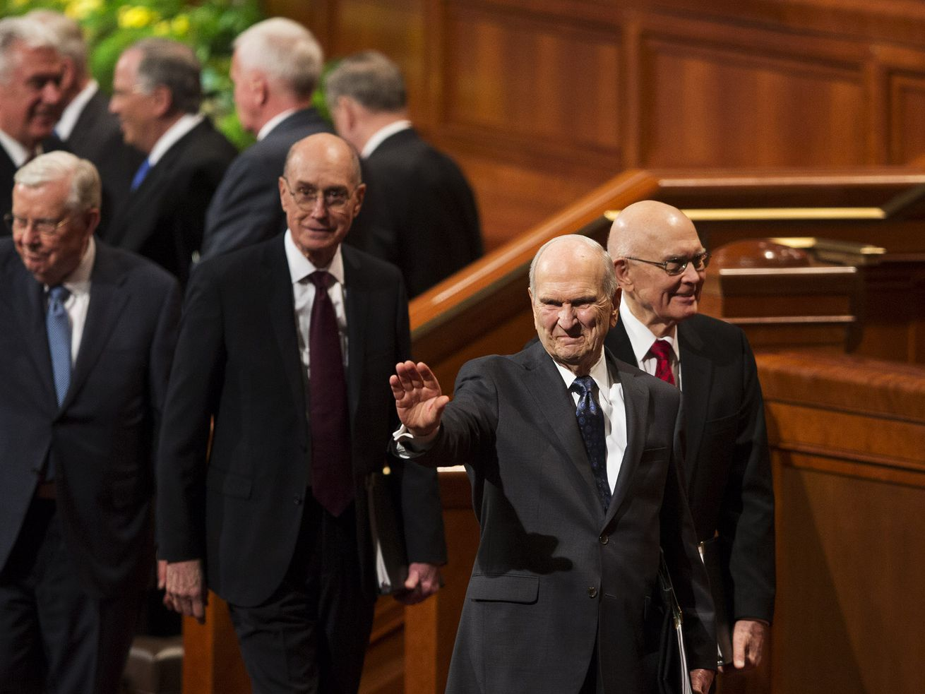 President Henry B. Eyring, Second Counselor in the First Presidency President Dallin H. Oaks, First Counselor in the First Presidency and President Russell M. Nelson exit after the General Priesthood session of the 188th Annual General Conference of The Church of Jesus Christ of Latter-day Saints, in the Conference Center in Salt Lake City on Saturday, March 31, 2018.
