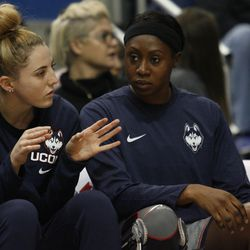 UConn�s Katie Lou Samuelson chats with Batouly Camara on the UConn bench.