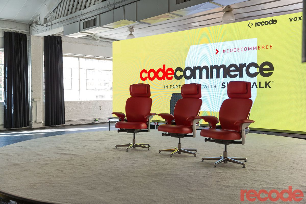 Three chairs on the Code Commerce stage