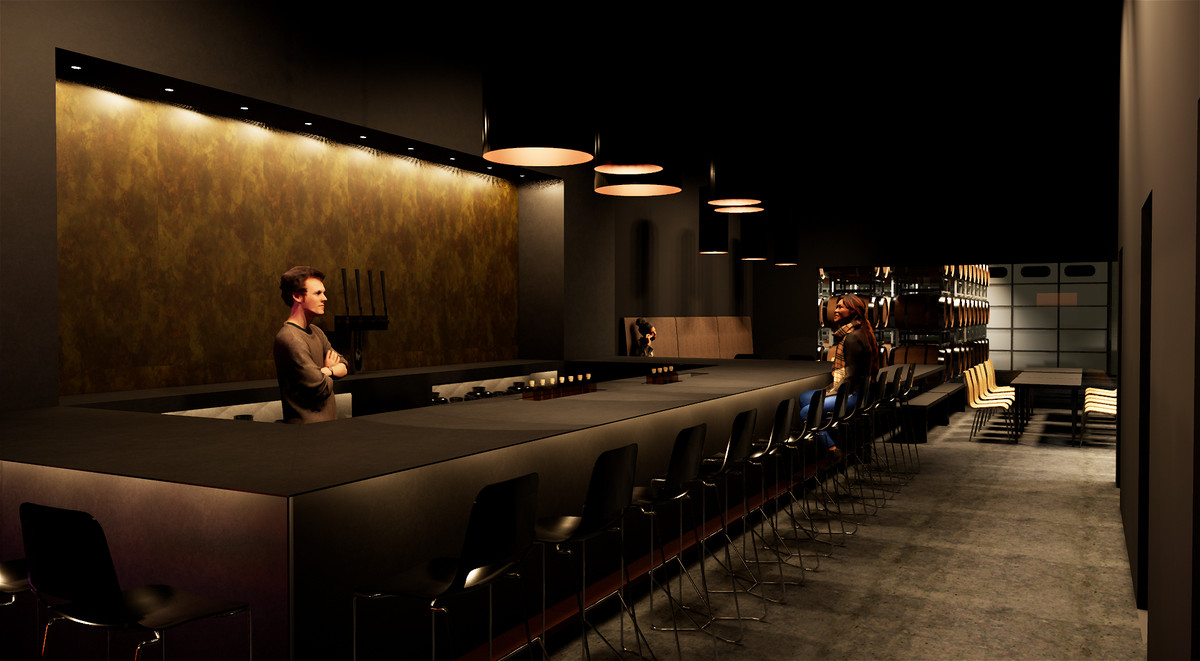 A computer rendering of a long dark colored bar with black bar stools with what looks to be a private lounge space in the background