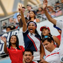 June 18, 2019 - Saint Paul, Minnesota, United States - Panama fans celebrate the 2-0 victory over Trinidad and Tobago the the teams first 2019 Gold Cup match at Allianz Field.