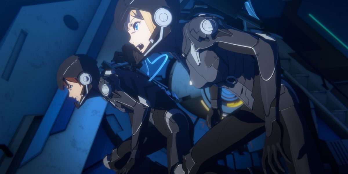 Two Jaeger pilots in battle suits move in coordination in Pacific Rim: The Black