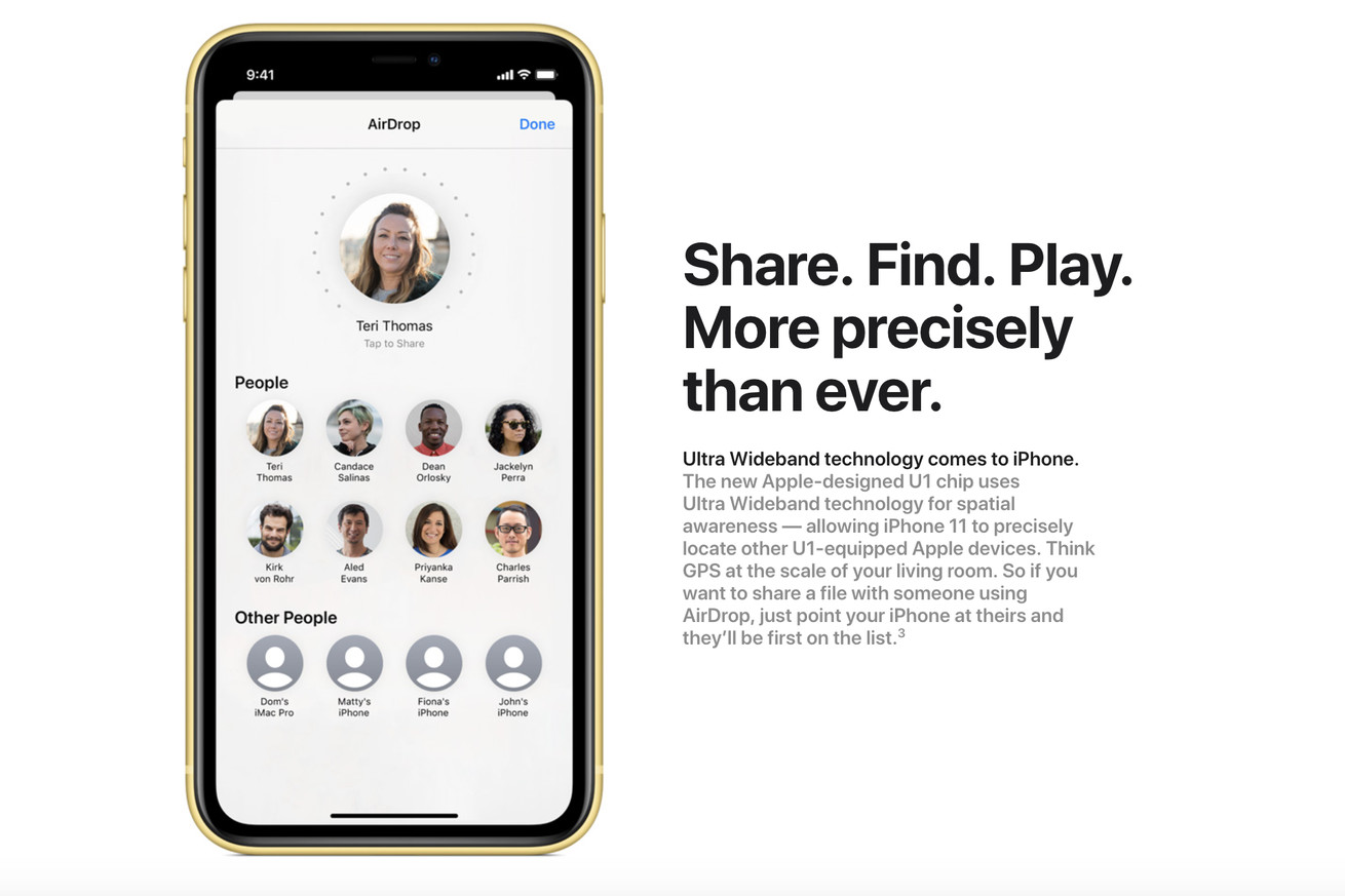 AirDrop on the iPhone 11 will let you point at people to share photos