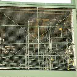 Scaffolding in the back of the lower level grandstands on the Addison side