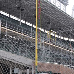 New electronic sign being installed on the first-base upper-deck facade -