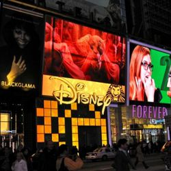 Advertising everything Disney in Times Square.