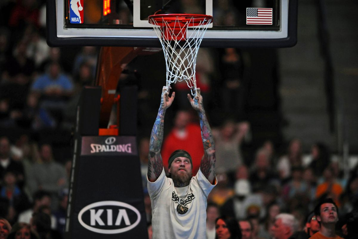 April6, 2012; Denver, CO, USA; Denver Nuggets center Chris Andersen (11) before the game agains the Phoenix Suns at the Pepsi Center. Mandatory Credit: Ron Chenoy-US PRESSWIRE