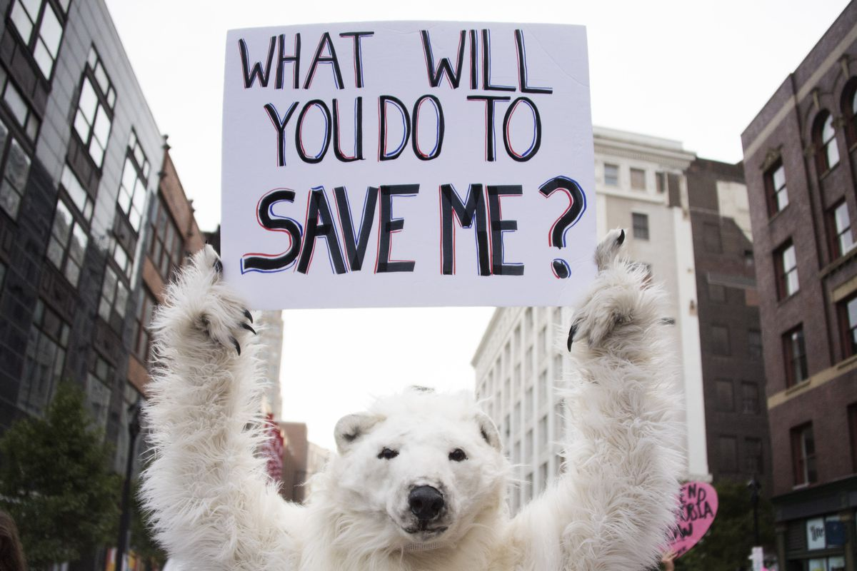 A anti-global warming protester holds up a placard in Cleveland, Ohio, near the Republican National Convention site July 18, 2016.
