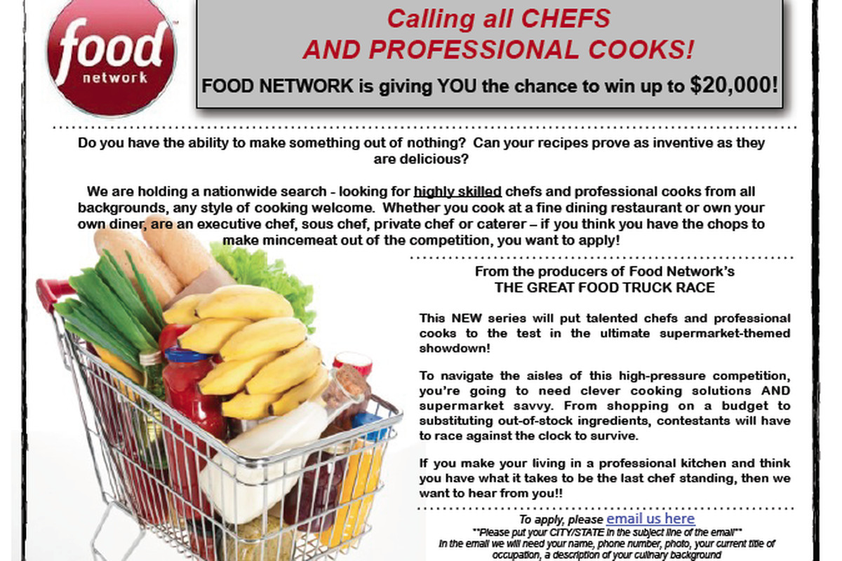Food network now casting for grocery games show eater are you a cheffood professional that happens to purchase food in a grocery setting if so the food network has announced its casting for an forumfinder Choice Image
