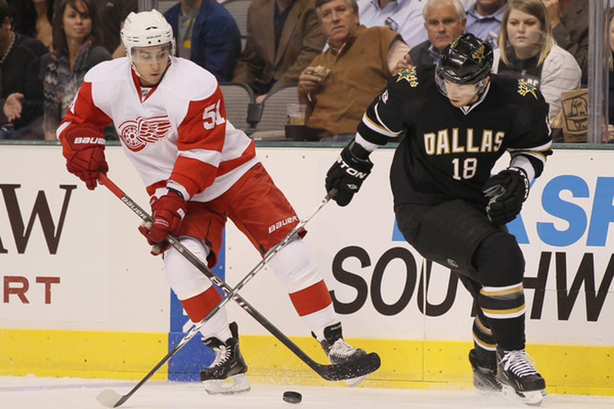 DALLAS - OCTOBER 14: James Neal #18 of the Dallas Stars takes the puck from Valtteri Filppula #51 of the Detroit Red Wings on October 14 2010 at the American Airlines Center in Dallas Texas.  (Photo by Elsa/Getty Images)