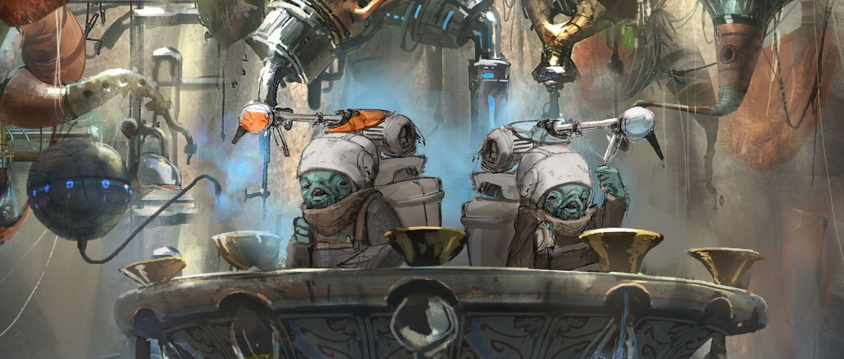 Two blue bartenders are standing.  Large packs on the back are connected to the arcane instruments above.
