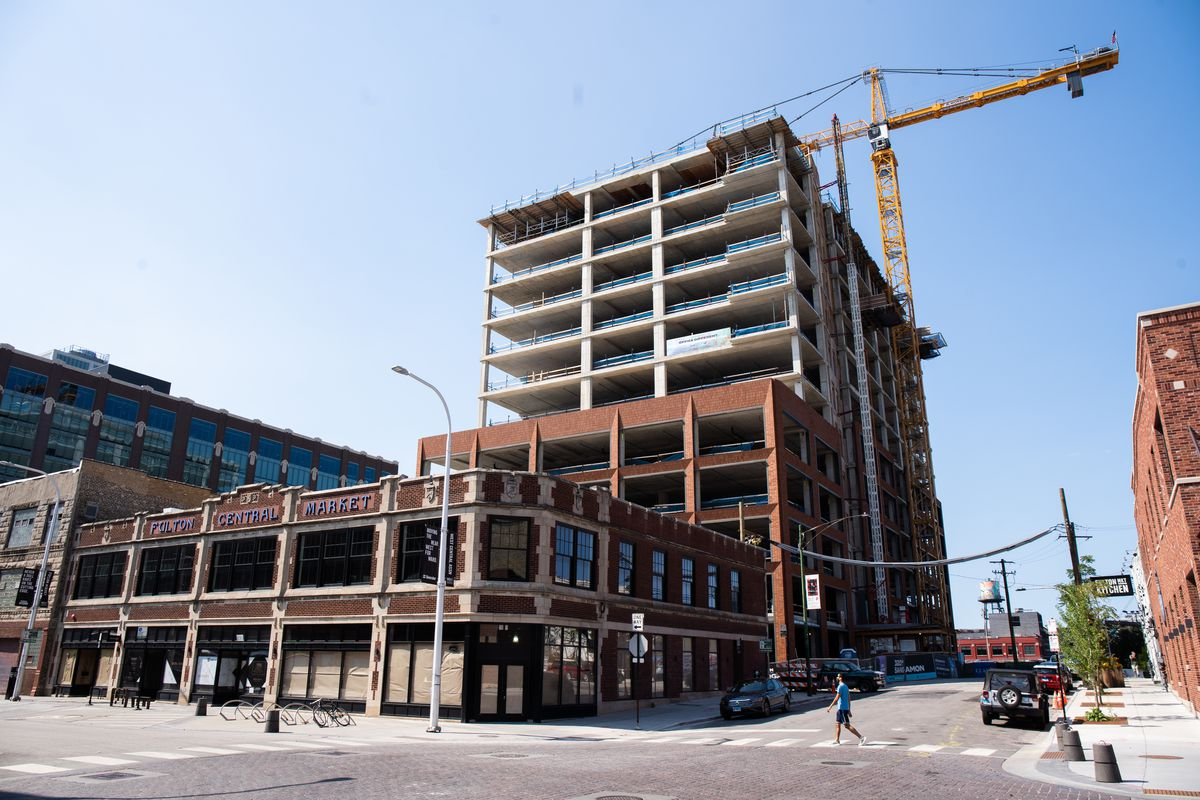 This office building is rising at Fulton Market and Sangamon Street. City officials have used projects funded by tax-increment financing to encourage development in the former meatpacking district.