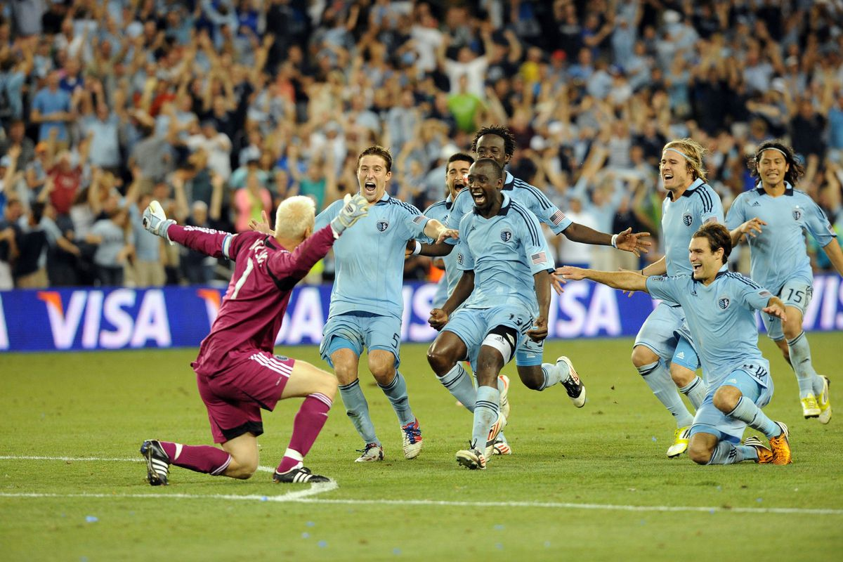 Aug 8, 2012; Kansas City, KS, USA; Sporting KC celebrates after winning the U.S. Open Cup Final against Seattle Sounders at Livestrong Sporting Park. Kansas City won 3-2 in penalty kicks after a 1-1 draw. Mandatory Credit: John Rieger-US PRESSWIRE