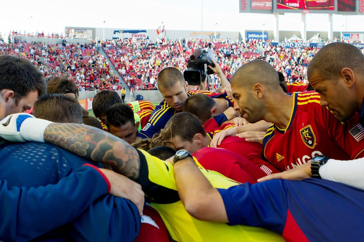 June 20, 2012;  Sandy, UT, USA; Real Salt Lake players huddle prior to a match against the Los Angeles Galaxy at Rio Tinto Stadium. Mandatory Credit: Russ Isabella-US PRESSWIRE