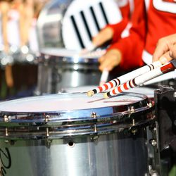 The Wisconsin Band plays to the crowd during the game.