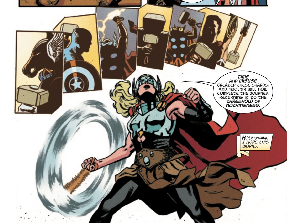 Jane Foster/Thor whirls Mjolnir and recalls all those who have lifted it before, including Beta Ray Bill, Captain America, and ... Wonder Woman! in Thor: The Worthy, Marvel Comics (2019).