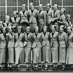 """The inaugural TWA Hostess graduate class of 1935. Photo via <a href-""""http://www.twaflightattendants.com/liftoffhtml/1930.html"""">TWAFlightAttendants.com.</a>"""