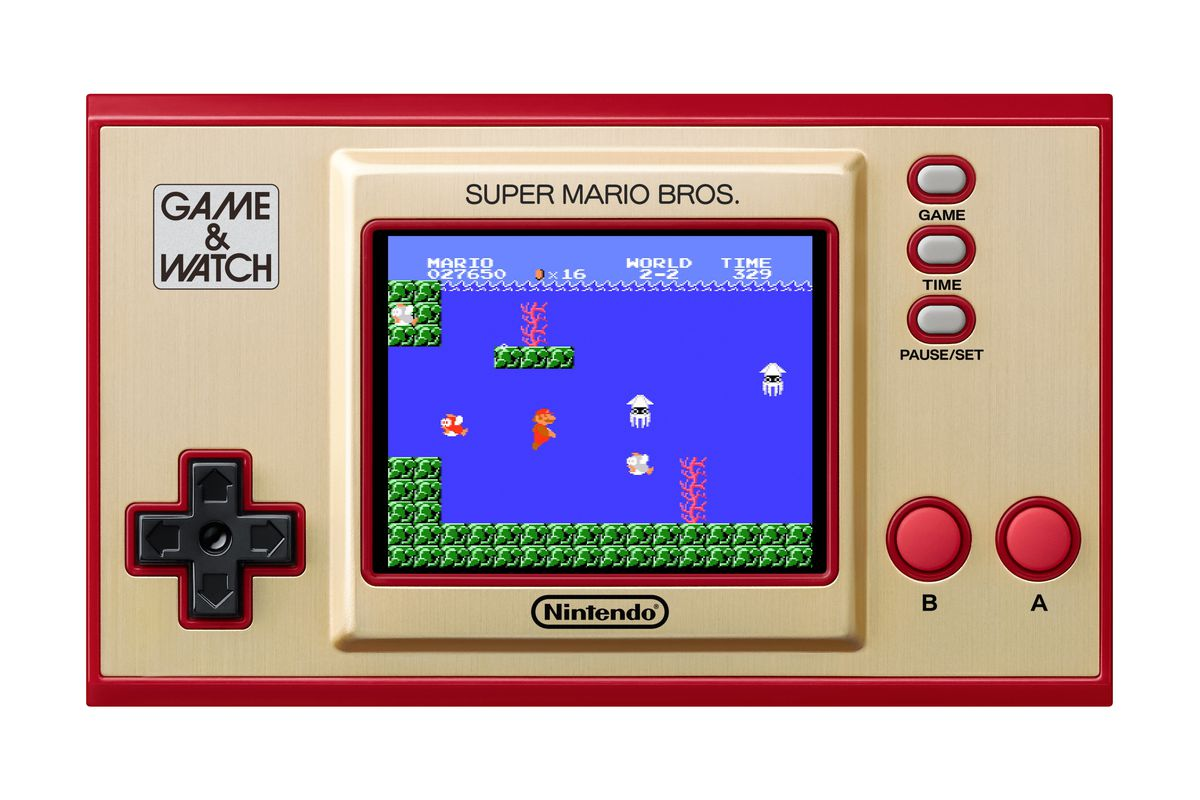 An image of Super Mario Bros. being played on the Game & Watch: Super Mario Bros. handheld