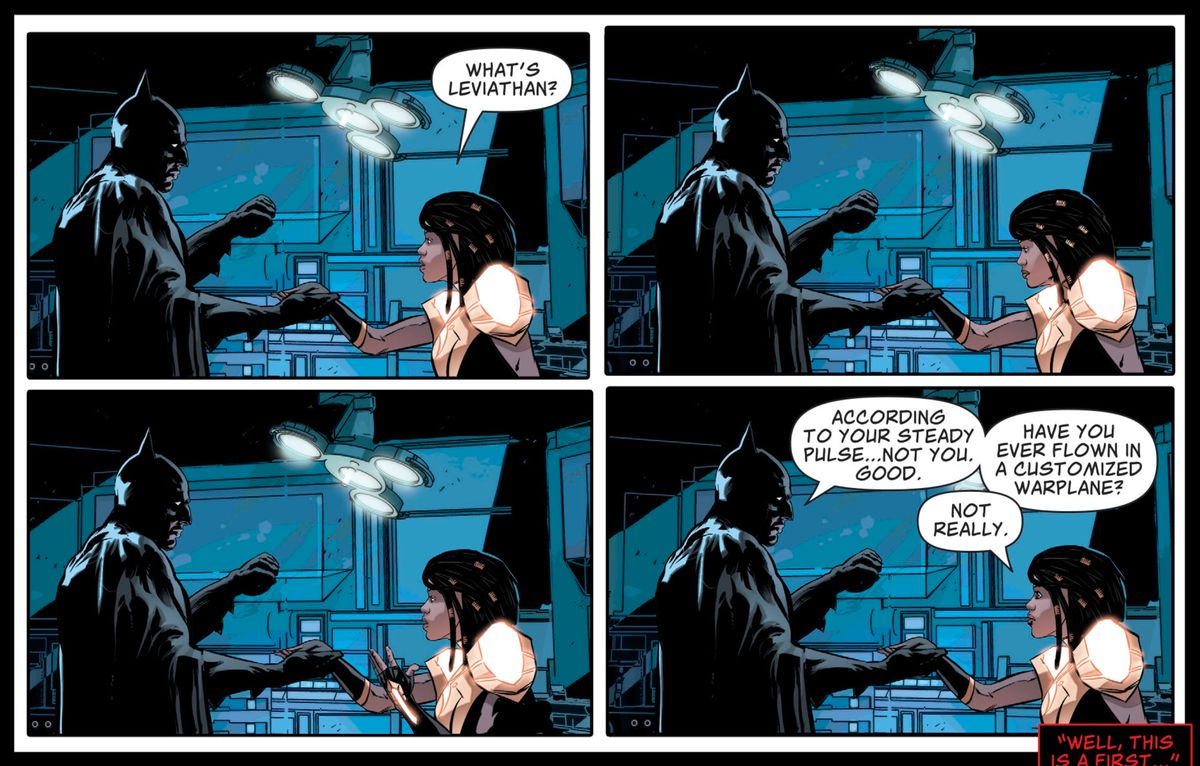 Naomi ask Batman what Leviathan is. He asks her if she's ever flown in a customized warplane, in Action Comics #1015, DC Comics (2019).