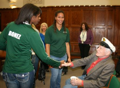 <small><strong> Steinmetz Star staff member Takara Johnson was among the student journalists who met Hugh Hefner when he visited his alma mater in 2010.   Steinmetz Star photo</strong></small>