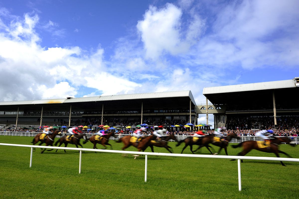 KILDARE, IRELAND - JUNE 30: Runners make their past the grandstands at Curragh racecourse on June 30, 2012 in Kildare, Ireland. (Photo by Alan Crowhurst/Getty Images)