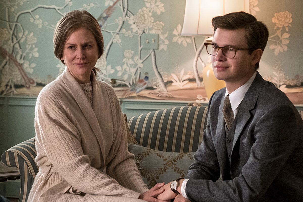 "Nicole Kidman and Ansel Elgort sit together on a sofa in the movie ""The Goldfinch."""