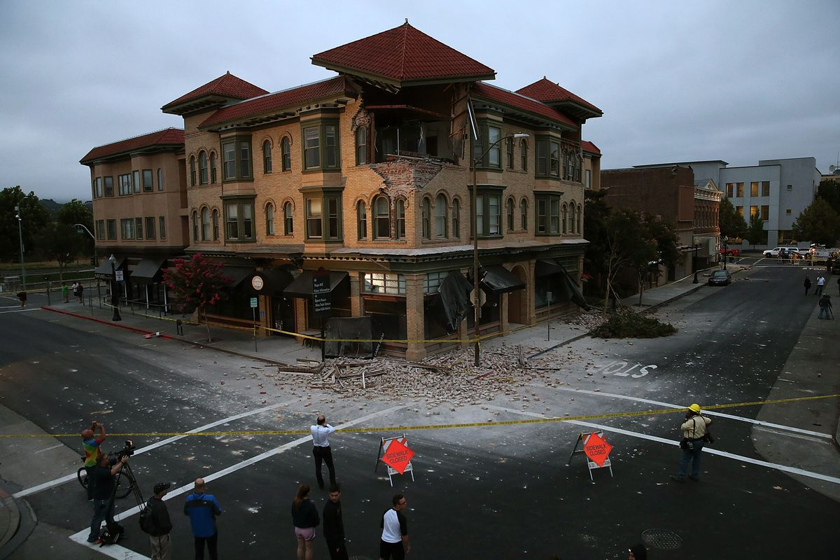 A building in Napa, California, damaged by the 6.0 magnitude earthquake.