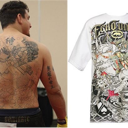 c76f25279 Frank Mir's new tattoo next to an Ecko MMA shirt. Mir may be taking  sponsorship to a whole new.