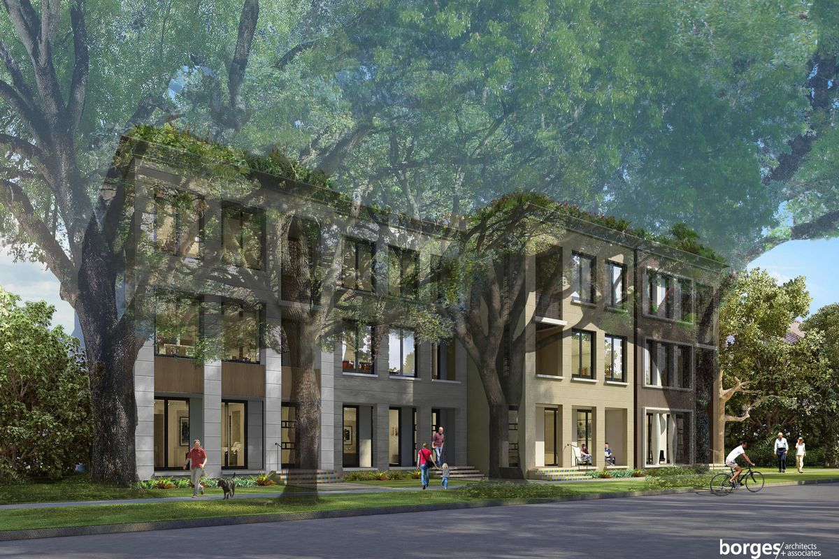 Rendering of 'New Town' townhomes in Coral Gables, with a midcentury modern design.