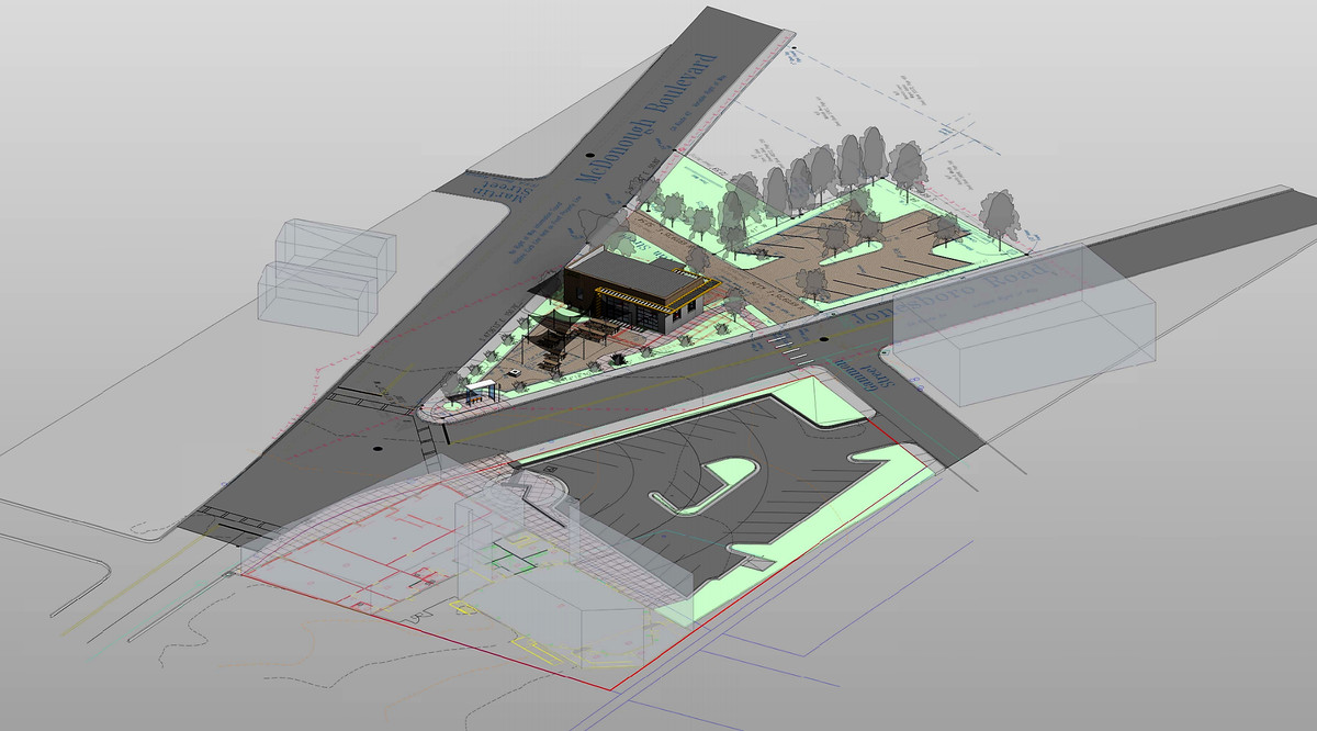 An aerial rendering shows the triangular site with a restaurant and seating near one point and parking at the back.