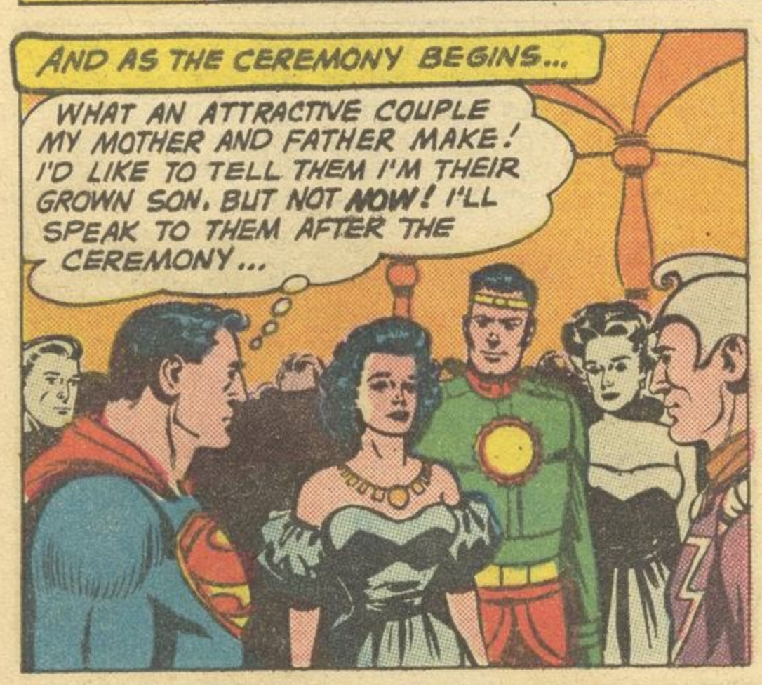 """Superman thinks his Kryptonian parents make a """"beautiful"""" couple as he secretly attends their wedding, in Superman #141, DC Comics (1960)."""