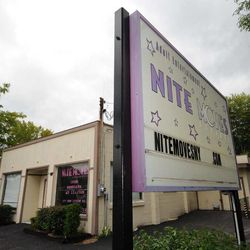 """This Wednesday, Sept. 5, 2012 photo shows Nite Moves Gentlemen's club in Latham, N.Y., Wednesday Sept. 5, 2012. The New York strip club says its nude lap dances are an art form and should be exempt from state taxes. The state tax department and an appeals court disagree and want the Nite Moves club in Albany to pay $124,000. New York's highest court hears the arguments Wednesday. Tax officials say sales taxes are owed on so-called """"couch sales,"""" where patrons pay for private or lap dances. Nite Moves claims the dances are exempt under state tax law as """"live dramatic or musical arts performances."""" The exemption also applies to theater or ballet."""