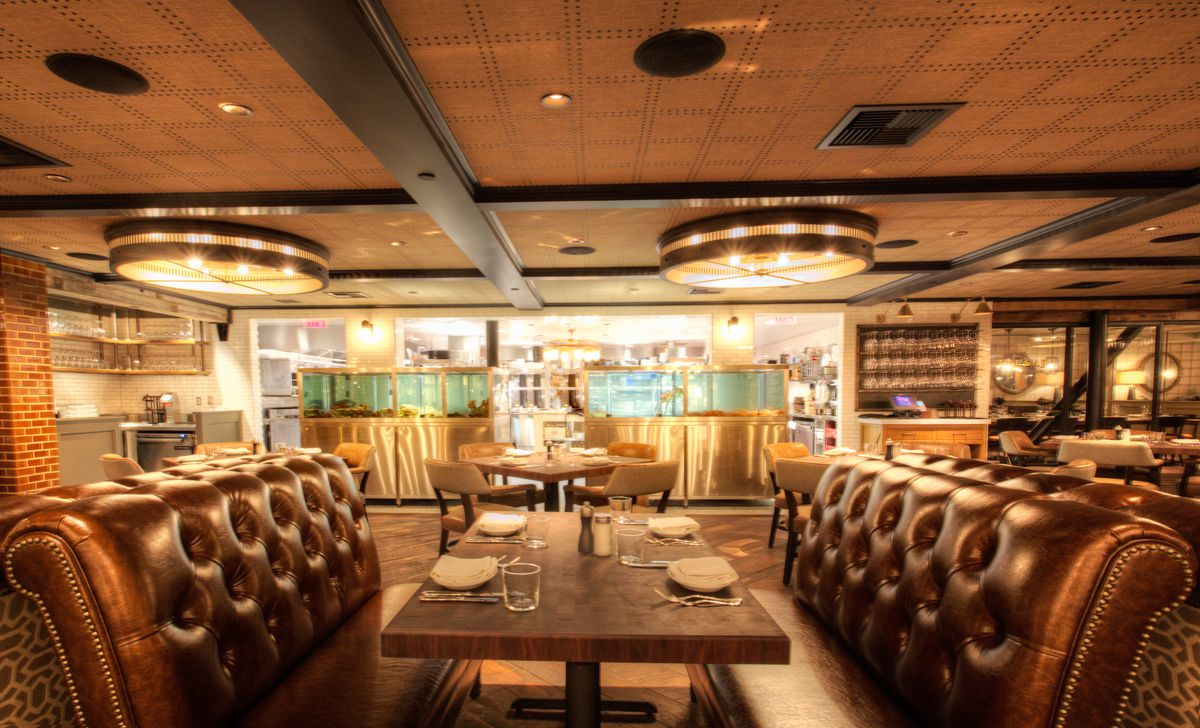 A view of the open kitchen from the dining room at Water Grill