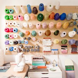 A wall of yarn and rope.