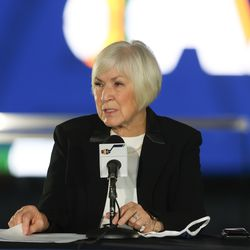 Gail Miller speaks at a press conference announcing the sale of the Utah Jazz to Qualtrics CEO Ryan Smith at Vivint SmartHome Arena in Salt Lake City on Wednesday, Oct. 28, 2020.
