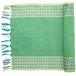 """""""A table runner works just as well at home as it does at a wooden picnic table at the park. It adds a pop of color—and serves for easy cleanup when meals get messy (as outdoor meals tend to do)."""" <br> <i><a href=""""http://www.wayfair.com/Sustainable-Threa"""