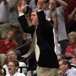 Head coach Jerry Sloan argues a call during the Western Conference semifinals at the Rose Garden in Portland May 24, 1999.