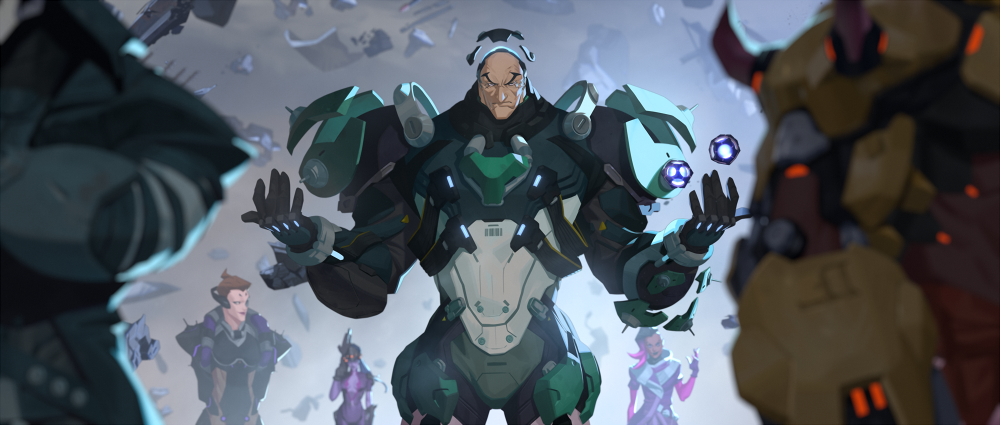 Overwatch - Sigma hovers menacingly, surrounded by the members of Talon in his origins animation