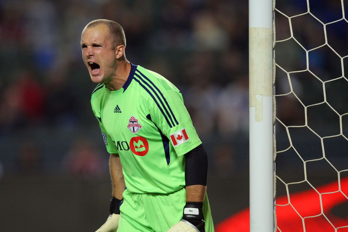 Stefan Frei in his last MLS game, back in 2011. Why's he so mad?  Justin Braun just scored against him.