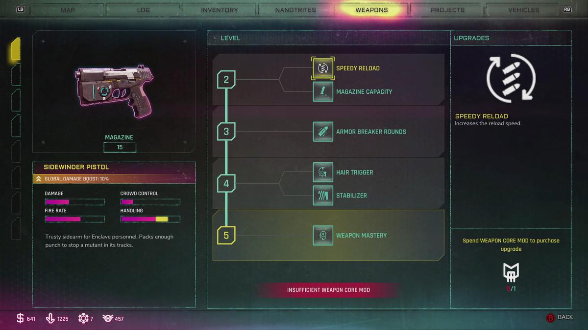Rage 2 weapons menu