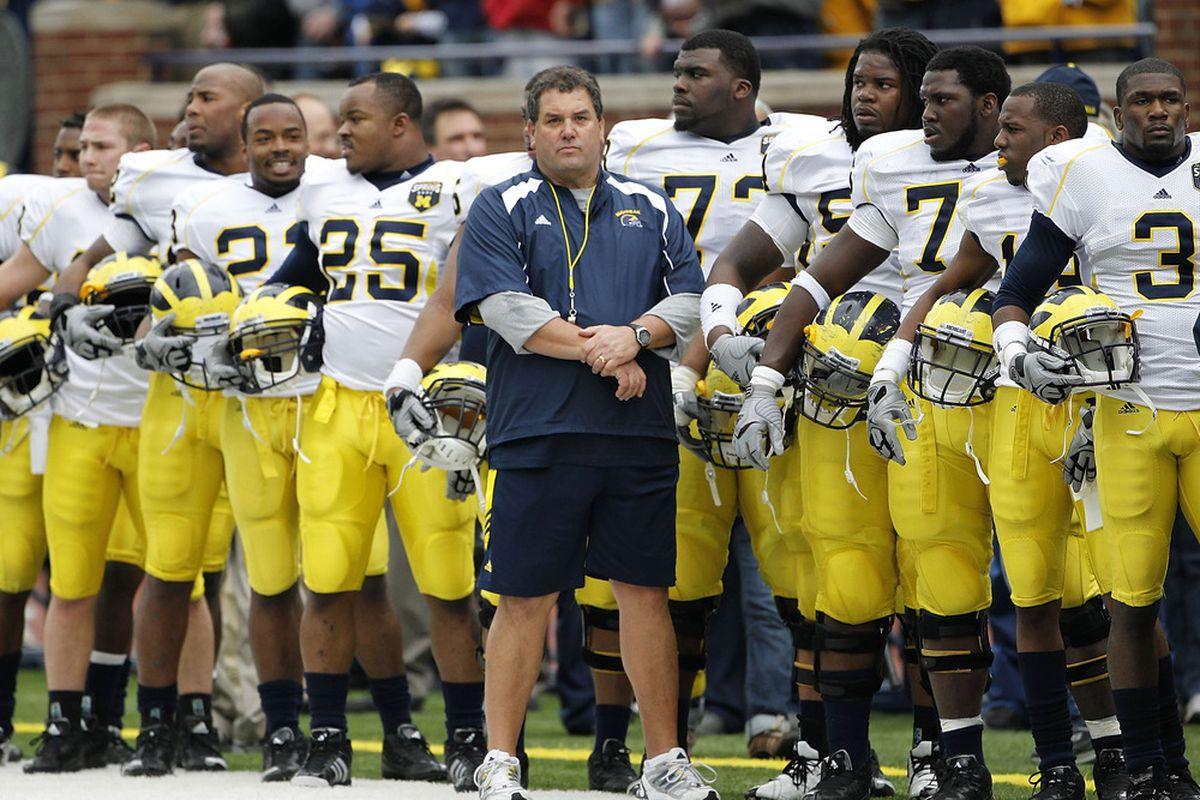 ANN ARBOR, MI - APRIL 16:  Head football coach Brady Hoke stands with his team prior to the start of the annual Spring Game at Michigan Stadium on April 16, 2011 in Ann Arbor, Michigan.  (Photo by Leon Halip/Getty Images)