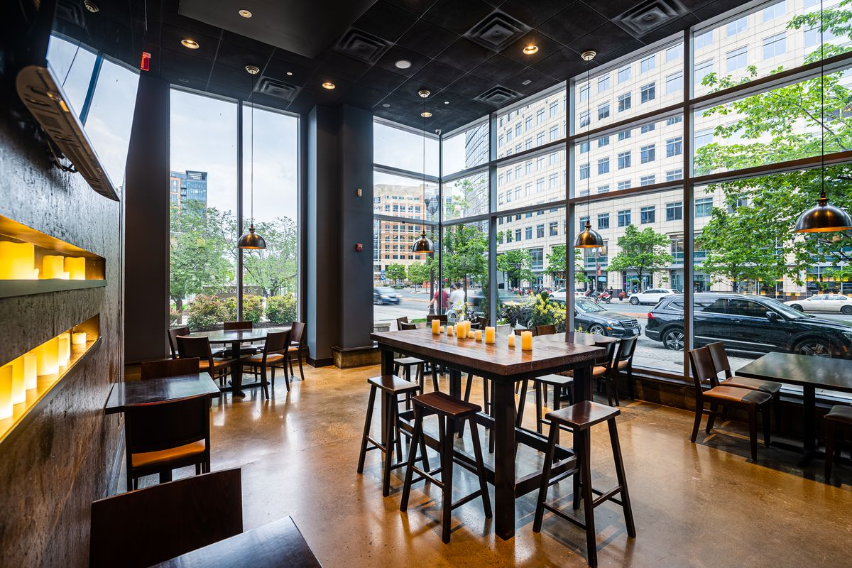 The 3,900-square-foot space sports a 32-seat patio and about 140 seats inside, with a mix of banquette, high-top and lounge seating.