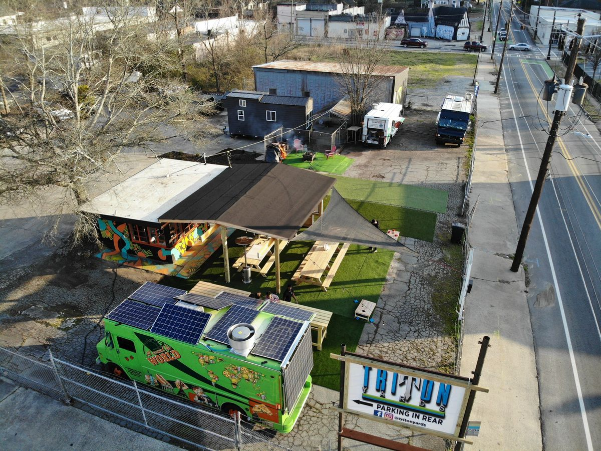 An arial view of the Triton Yards food truck park on Sylvan Road in Southwest Atlanta