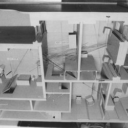FBI model of the Monroe St. apartment in which the December raid by state's attorney's police took the lives of two black Panther leaders. Federal grand jury condemned the raiders, who entered through both front door and rear door, firing a total of 82 to 99 shots.